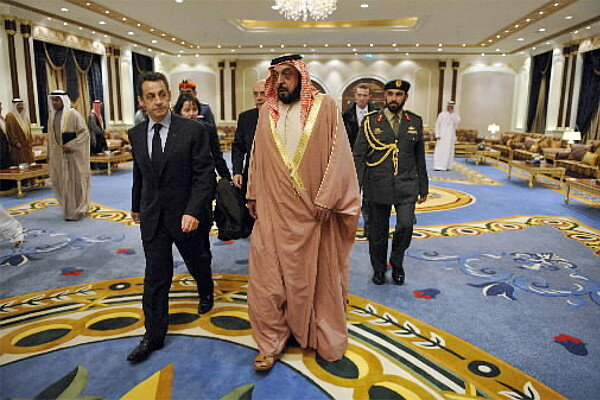 United Arab Emirates' President Khalifa bin Zayed Al Nahyan, seen here with  French President Nicolas Sarkozy in 2008, has promised to organize  assistance ...