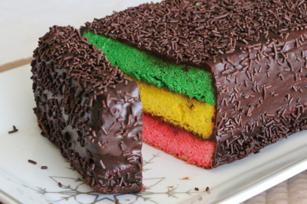 Inspired By Rainbow Cookies Gel Food Coloring Works Best For This Festive Cake