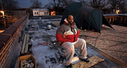 Corey Brooks camped on a rooftop to boost his Chicago neighborhood