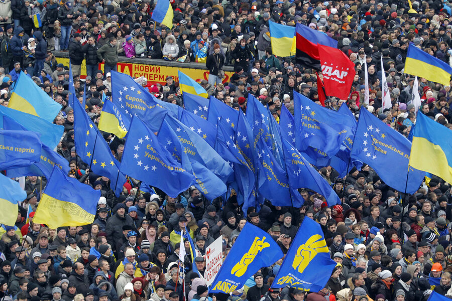 Image result for ukraine protests eu flaGS