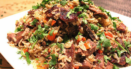 Rice pilaf with lamb, infused with Central Asian flavors