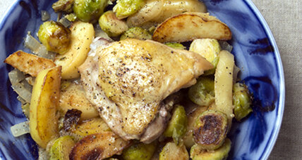 Braised chicken thighs with Brussels sprouts and potatoes