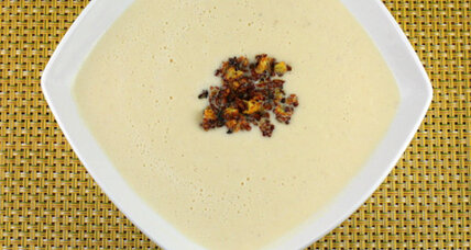 Cauliflower cheese soup with curried cauliflower crumbs
