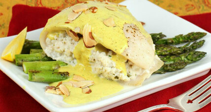 Crab-stuffed tilapia with asparagus and creamy curry sauce