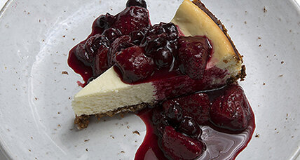Chevre cheesecake with hazelnut crust and fruit compote