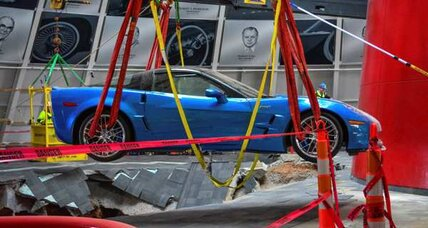 ZR1 Blue Devil Corvette, rescued from sinkhole, exits on its own power