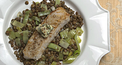 Hake with lentils and sage mustard butter