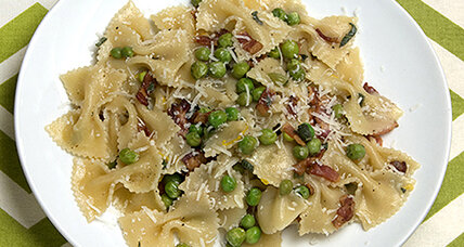 Butterflies and a taste of spring: Farfalle with peas, bacon, and sage butter