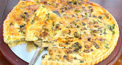 Quiche with broccoli, mushrooms, and kale