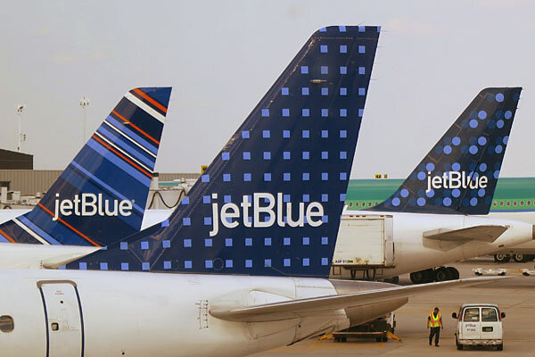 Jetblue Airways Aircraft Are Pictured At Departure Gates John F Kennedy International Airport In New York Is Offering One Way Flights For 43