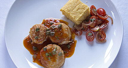 Scallops with smoky chipotle butter, tomato salad, and cornbread