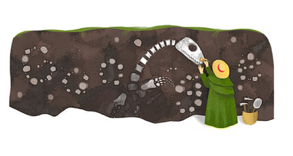 Google celebrates Mary Anning with fossil-hunting doodle