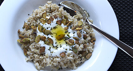 A simple, satisfying lunch: Savory yogurt with brown rice and pistachios