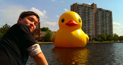 Giant 'Rubber Duck' includes families as part of the art (+video)