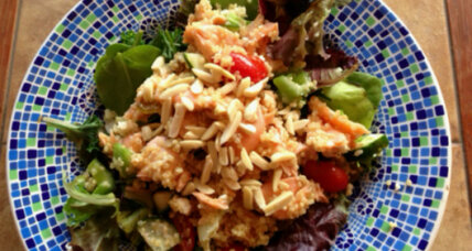 Quinoa and oven-roasted salmon salad