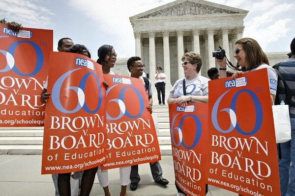 """Board of Education decision that struck down """"separate but equal"""" laws that  kept schools segregated."""