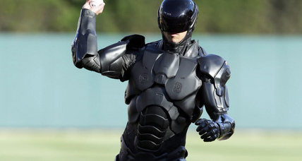 RoboCop pitch kicks of Detroit Tigers game