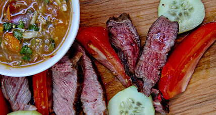 Grilled steak with crying tiger dipping sauce