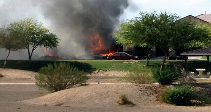 Military jet crashes in California desert town, no injuries