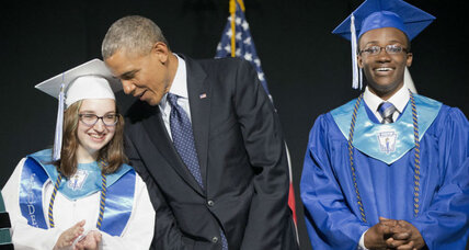 At pioneering high school, Obama plays role model in chief