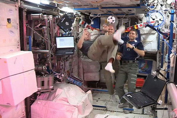 Space station astronaut marks World Cup with zero-g ...