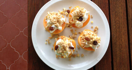 Apricots with Greek yogurt, granola and honey