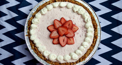 Strawberry chiffon pie with pretzel crust