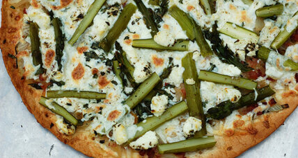 Bacon asparagus pizza with caramelized onions and basil