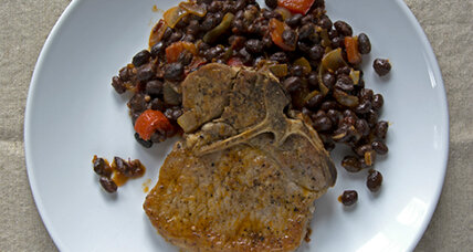 Braised Pork Chops with Chipotle Black Beans