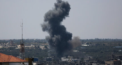 Israel downs drone from Gaza, Palestinians flee air strikes