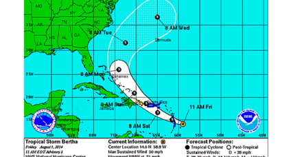 Tropical storm Bertha tracks across Caribbean. Where it heads next.