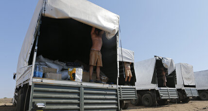What's in Russian aid convoy to Ukraine? Border officials begin to find out.