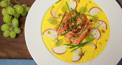 Yellow tomato gazpacho with head-on shrimp