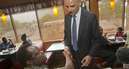 Holder's visit to Ferguson: Protests take a turn for the peaceful