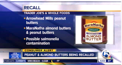 Peanut, almond butter recall for possible salmonella hits Whole Foods, Kroger, and others