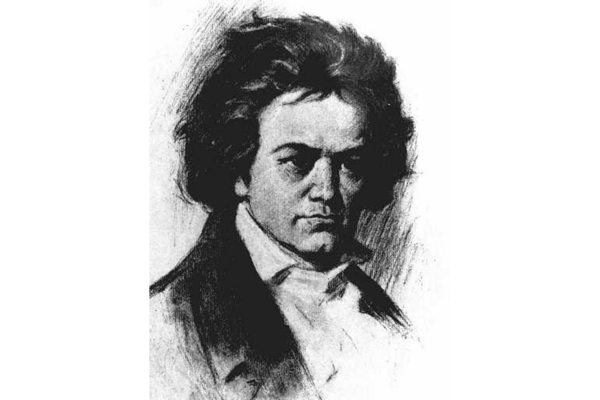 Classical composer Ludwig Van Beethoven is seen in this undated sketch ...