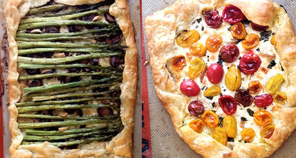 Savory tart two ways: Tomato and goat cheese or asparagus and mushroom