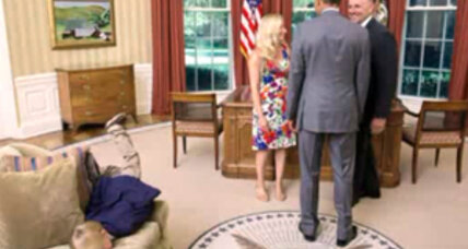 Kid sofa-dives in Oval Office, Obama probably jealous