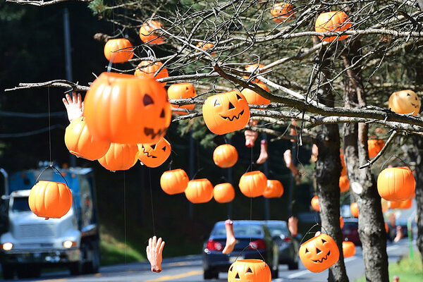halloween decorations are in trees in front of mister eds elephant museum candy shop monday sept 22 2014 along chambersburg road orrtanna pa