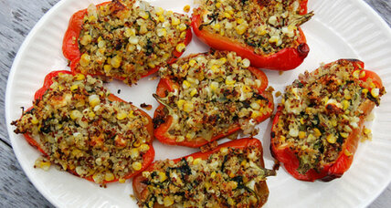Quinoa-stuffed peppers with corn, feta, and herbs