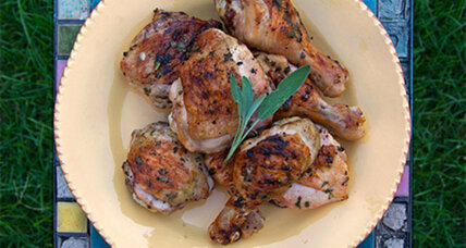 Grilled chicken with lemon sage butter