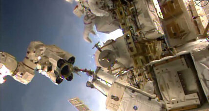 Spacewalking astronauts upgrade space station