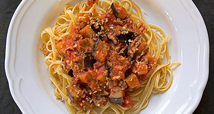 Linguine with eggplant and lamb