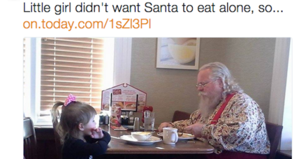 A 3-year-old girl saw Santa eating alone. So she joined him