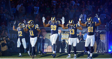 St. Louis Rams give 'hands up' Ferguson sign in pregame. Appropriate?