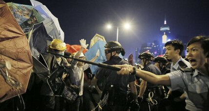 Democracy protesters clash with police in Hong Kong