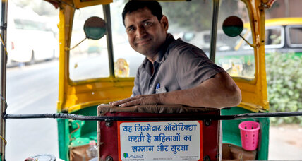Rickshaw drivers take a 'respect women' message to New Delhi streets