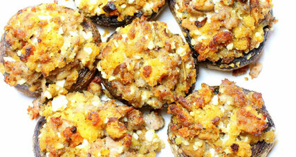 Sausage and cornbread stuffed mushrooms