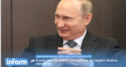 Russia calls for end to sanctions as EU cracks down on Ukrainians