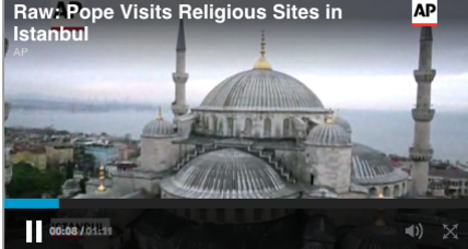 Pope prays at Turkey's Sultan Ahmet mosque in moment of 'silent adoration'